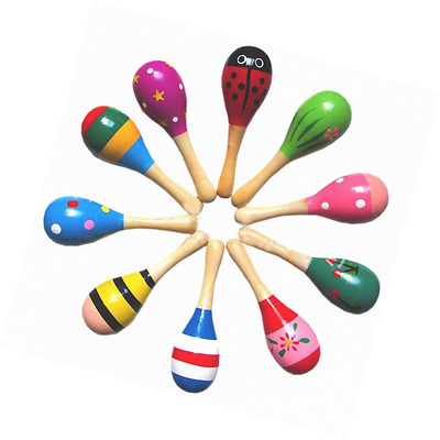 New Wooden Maraca Wood Rattles Egg Shaker Kids Musical Party Favor Kid Baby Shak