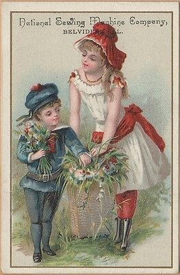 Victorian Trade Card-National Sewing Machine-Belvidere, IL-Gathering Flowers