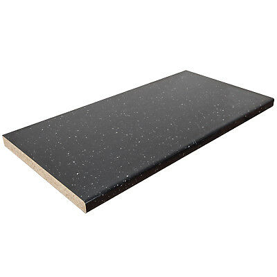 Black Sparkle Laminate Worktop, Gloss, 6mm Edge - 3m, 4m Lengths, 38mm Thick