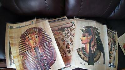 wholesale lot of 10 large Egyptian Hand-Painted Papyrus Artwork