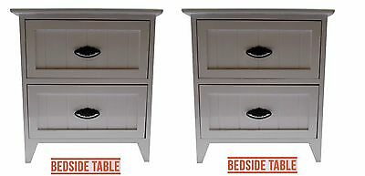 Set of 2 Small White Glossy Wood 2-Drawer Bedside Cabinet/Table Storage Unit