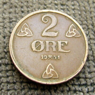 1931 NORWAY  2 Ore Coin