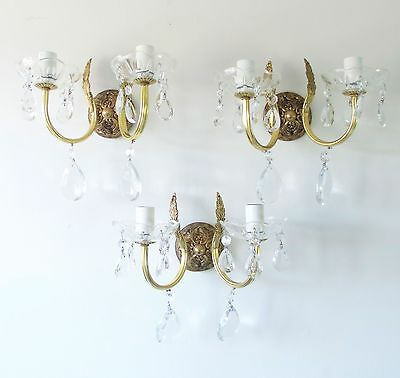 PRETTY TRIO FRENCH VINTAGE CHIC CRYSTAL 2 light WALL LIGHTS CHANDELIERS LIGHTING