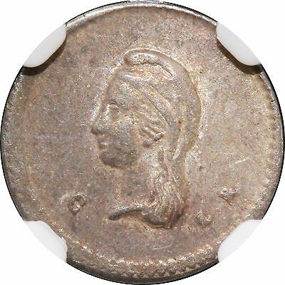 Mexico 1/4 Real C 1855 L.R. Culiacan, Rare one year type. NGC AU50. KM# 368.1