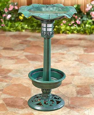Solar Lighted Birdbath Planter Outdoor Living Yard Decor Lawn Ornament 2 Colors