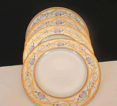 "Antique Oepiag 8"" Porcelain Plates with Gold Trim, Czechovslovakia"