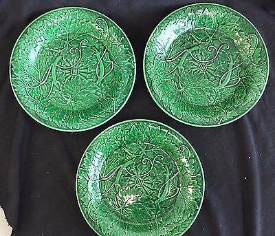 Set Of 3 Antique Wedgwood Green Majolica Leaf Low  Bowl 8 1/4 ""