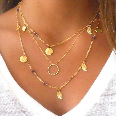 Charms Multilayer Necklace Gold Leaf Minimal Hippy Boho Thin Long Chain Pendant