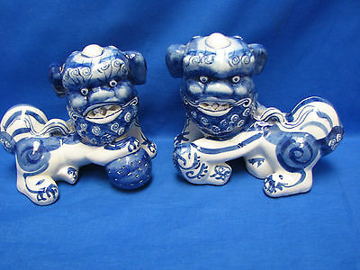 Set of Blue & White Porcelain Chinese Foo Dog Figurine Statues - Made in China