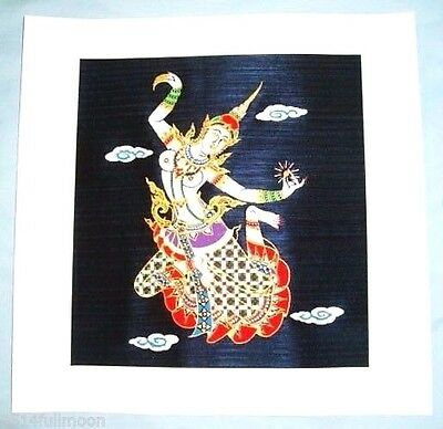 "Thai Art Silk Painting Handmade Home Decor Wall "" Mekhala & Crystal Ball"