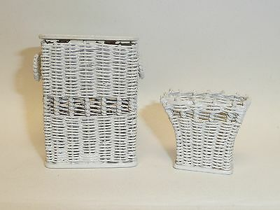 Artisan Made Dollhouse Miniature 1:12 Scale Hamper & Basket by Lei Lani & Roger