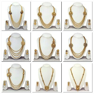 South Indian Traditional Ethnic Gold Tone Necklace & Earrings,Temple Jewelry Set
