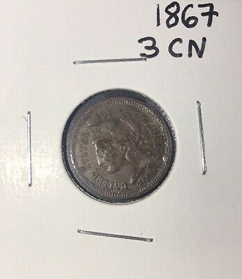 Extremely Rare And Unusual Aged 1867 3 Cent Nickel!!!