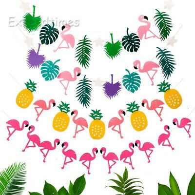 Hawaiian Tropical Flamingo Leaves Banner Happy Birthday Bunting Summer Party Dec