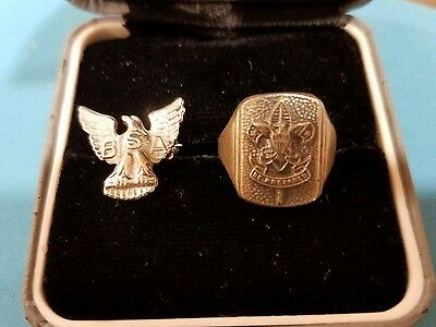 Vintage Boy Scouts Of America Sterling Silver Ring & Lapel Pin Lot