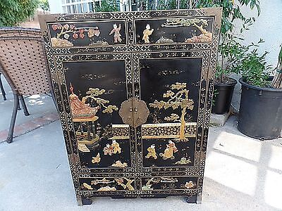 Antique Asian/Chinese Soapstone Hand Carvings Cabinet