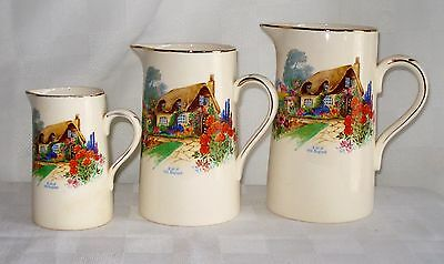 Set Of 3 Alfred Meakin Graduated Pitchers (A Bit Of Old England)