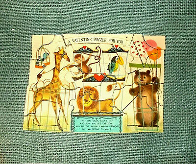 Vintage 1950's/1960's Valentine's Day Card-Zoo Animals-Jigsaw Puzzle-Complete