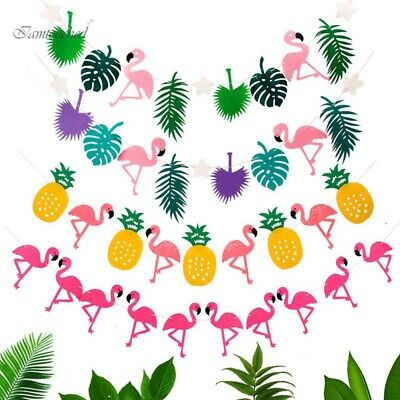 Flamingo Pineapple Garland Leaves Banner Summer Home Birthday Party Bunting