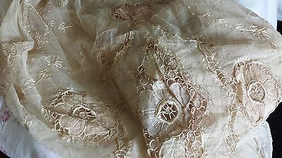 Victorian French Tambour Net Lace Full Coverlet and Scarves