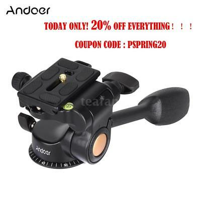 Video Tripod Fluid Ball Pan/Tilt Head Quick Release Plate for DSLR Camera K2Z3