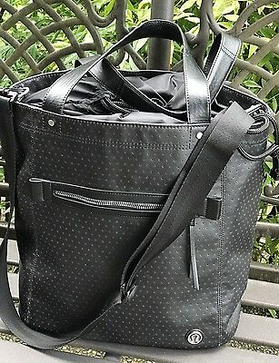 Lululemon Black 'Out & About Tote' Bucket Duffle Gym Laptop Shoulder Bag