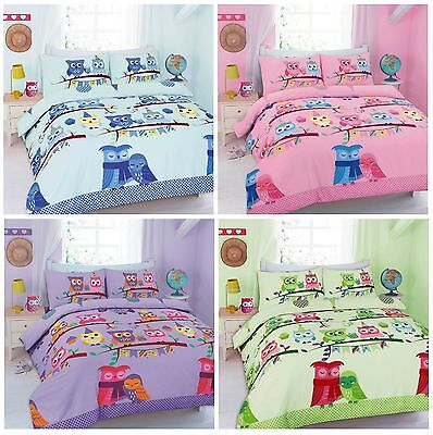 Cot Duvet Cover Set with Pillowcase Owl Duvet Cover Sets, Kids Toddler Baby