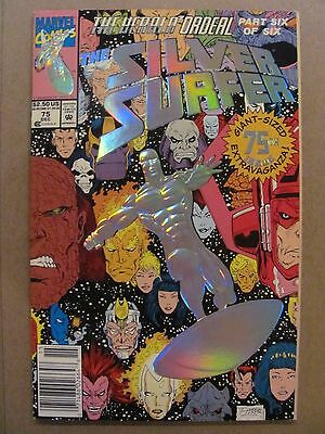 Silver Surfer #75 Marvel 1987 Series EMBOSSED FOIL COVER NEWSSTAND 9.4 NM