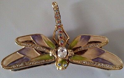 Dragonfly Pill Box Gemstones Open Close Wings Decorative Collectible Gemstones