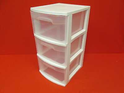 Lot Of 2 Pack Of Sterilite 3 Drawer Cart White Frame With Clear Drawers 1954