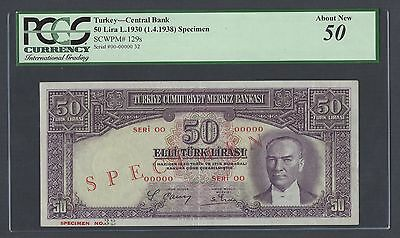 Turkey 50 Lira 1930 (1-4-1938) P129s Specimen About Uncirculated