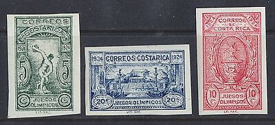 1924 Costa Rica Semi Postal Issue Olympics Imperforate - Never Hinged Sct B2-B4