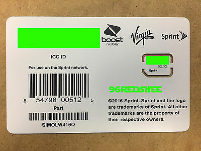Sprint Sim card SIMOLW416Q Galaxy S8, S8+