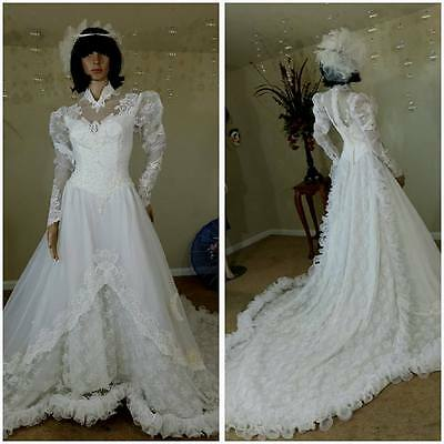 vintage  70s lace and organza ruffles wedding dress wedding gown with train