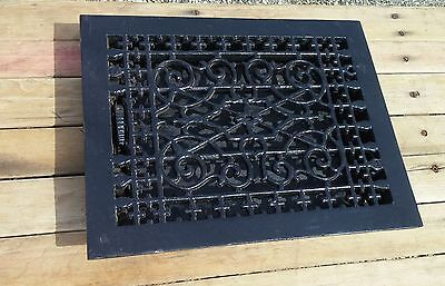 ANTIQUE Floor GRILLE CAST IRON VICTORIAN 12x9 + LOUVERS Grate HEAT REGISTER W@W