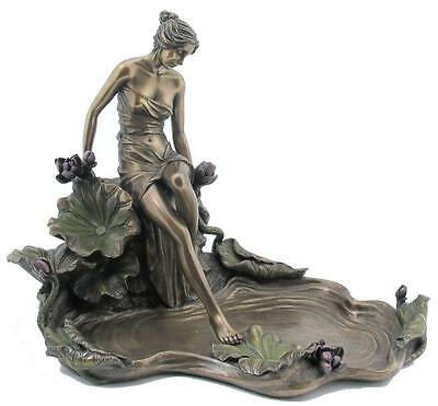Veronese Bronze Figurine Art Nouveau Lady Jewellery Tray Gift Home Decor