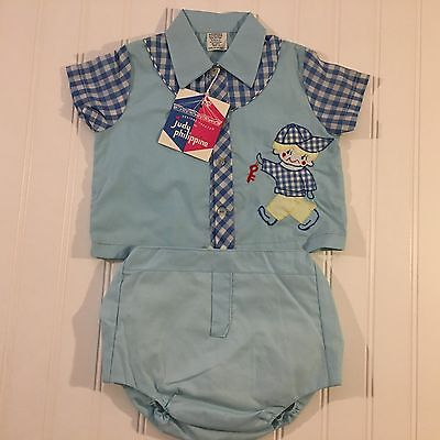 Vintage Baby Boy Outfit NWTS Judy Philippine Blue Gingham 1960s Size 12 Mos