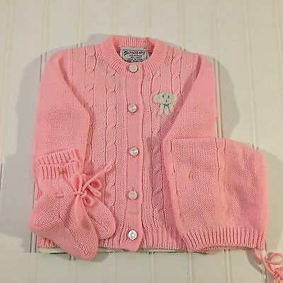 Vintage 1960s Infant Girl Sweater Set Booties Hat Sweater NWOT Cradle Knit