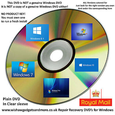 Microsoft Windows 7 x32 x64 10 x32 Windows 8.1 x32 x64 Recovery Repair Boot DVDs