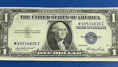 1935E $1 Blue Choice Crisp XF SILVER Certificate X836 Old US Paper Currency
