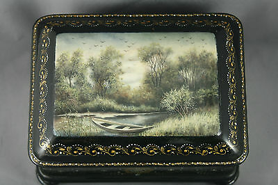 Russian Fedoskino Lacquer Trinket Box Hand Painted Signed
