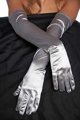 KAYSO Silver Long Satin Bridal Shower Gloves Opera Elbow Length Wedding