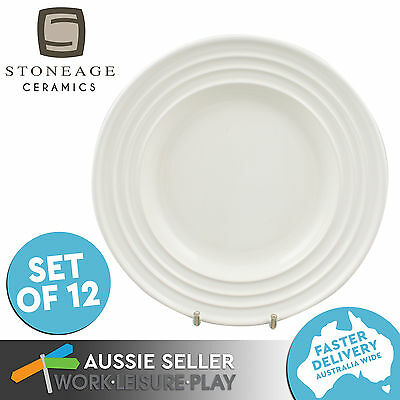 12x Side Plate Claire's Kitchen Ceramic Microwaveable White Dish 230mm Stoneage