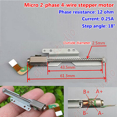 18 deg 2-Phase 4-Wire Micro Mini Stepper Motor Stroke Linear Long Screw Rod DIY