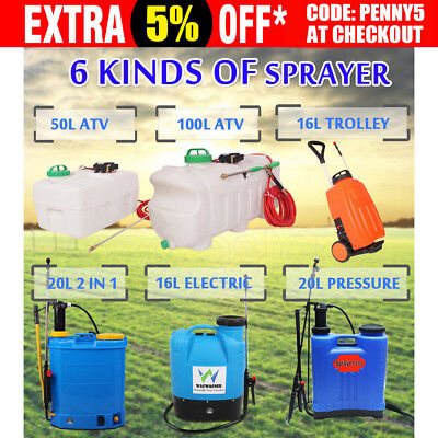 50L/60L/100L ATV Weed Sprayer 16L Electric Trolley 20L Pressure Backpack Sprayer