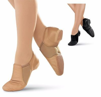 NEW Jazz Shoes Slip on Black or Tan Child to Adult Sizes Leather CLOSEOUTS
