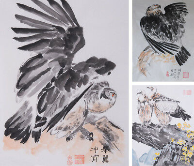Artwork Eagle Rock Hand Painted Chinese Brush ink watercolor painting signed