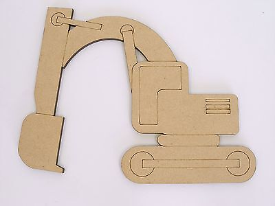 One MDF Wooden Excavator Shape 20cm High Kids Craft DIY Paint Mobile