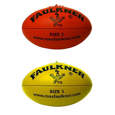 Faulkner Pro Football - Leather - Size 5 - Yellow Or Red - Afl
