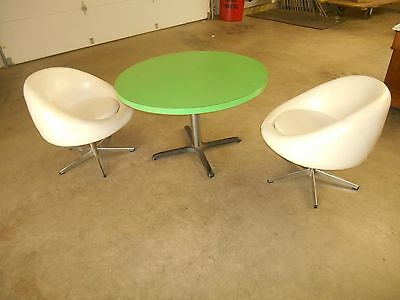 "Vintage Mid Century Modern Dining Set 42"" Green Table & 2 Atomic Era Pod Chairs"